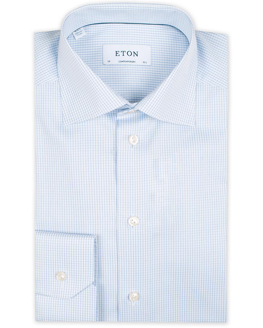 Blue Contrast Collar Shirt Slim   Eton Shirts UK