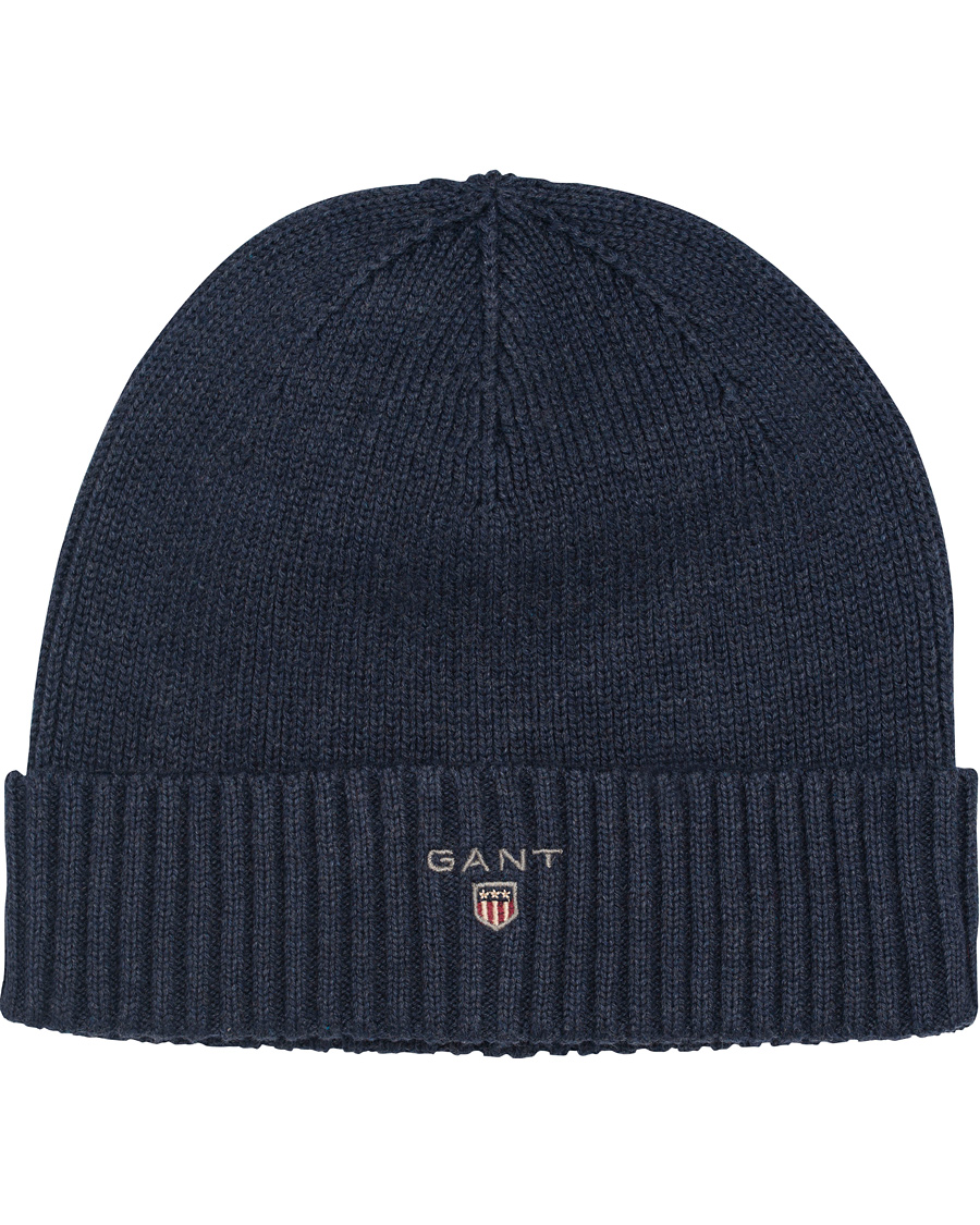 fc38e763 GANT Cotton Knit Beanie Dark Indigo Melange hos CareOfCarl.no