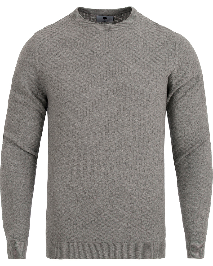NN07 Albert Cotton Sweater Light Grey Melange hos CareOfCarl.no