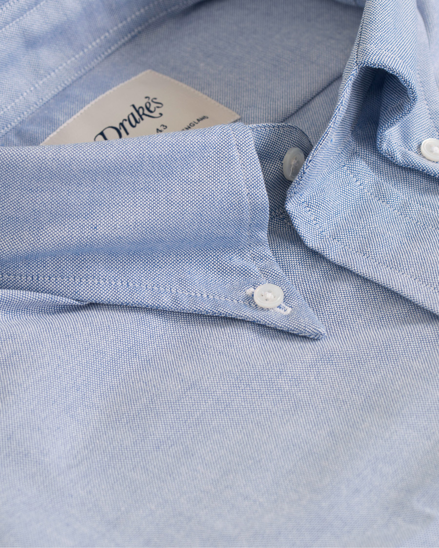 Drake's Slim Fit Oxford BD Shirt Blue hos CareOfCarl.no
