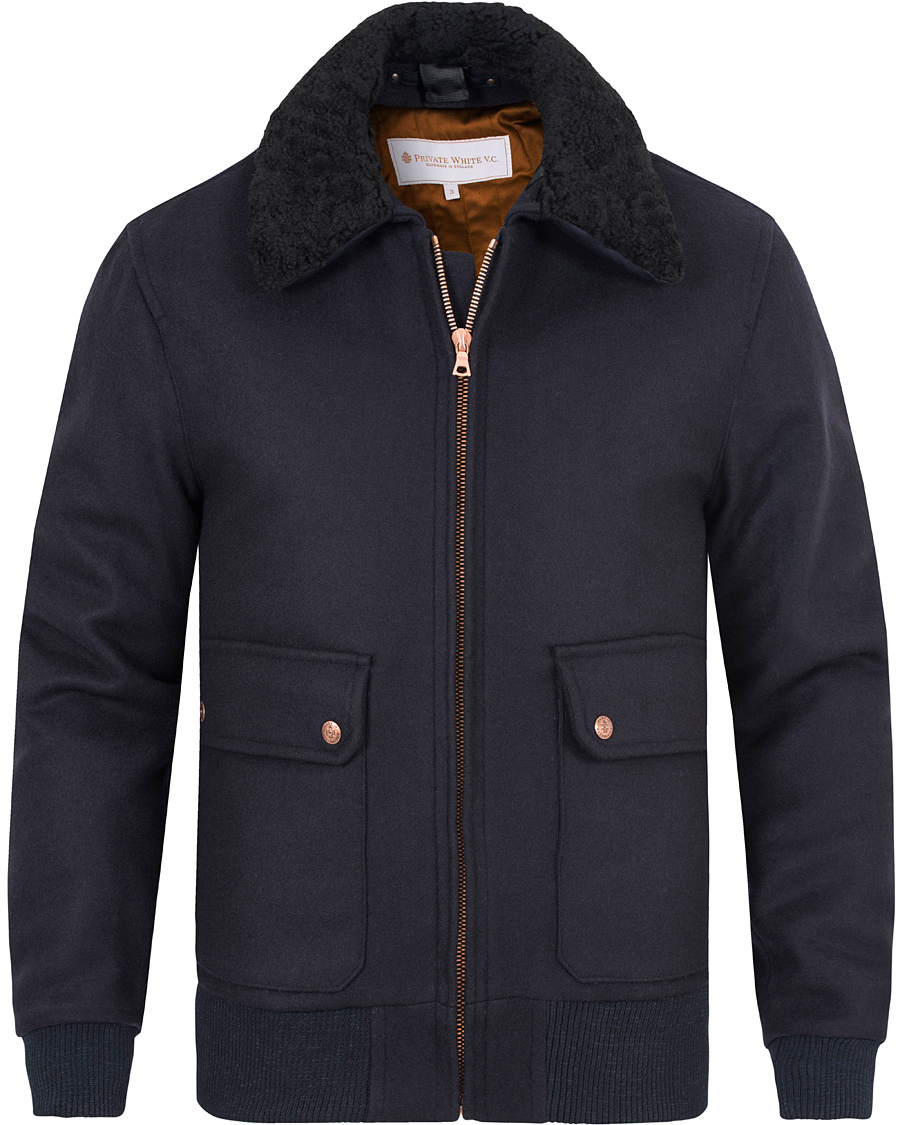 vivid and great in style 100% high quality famous designer brand Private White V.C. Pilot's Bomber Wool Jacket Navy hos ...