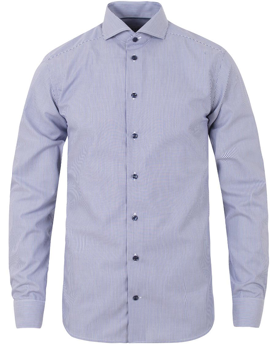 Eton Slim Fit Lightweight Twill Stripe Shirt Blue hos
