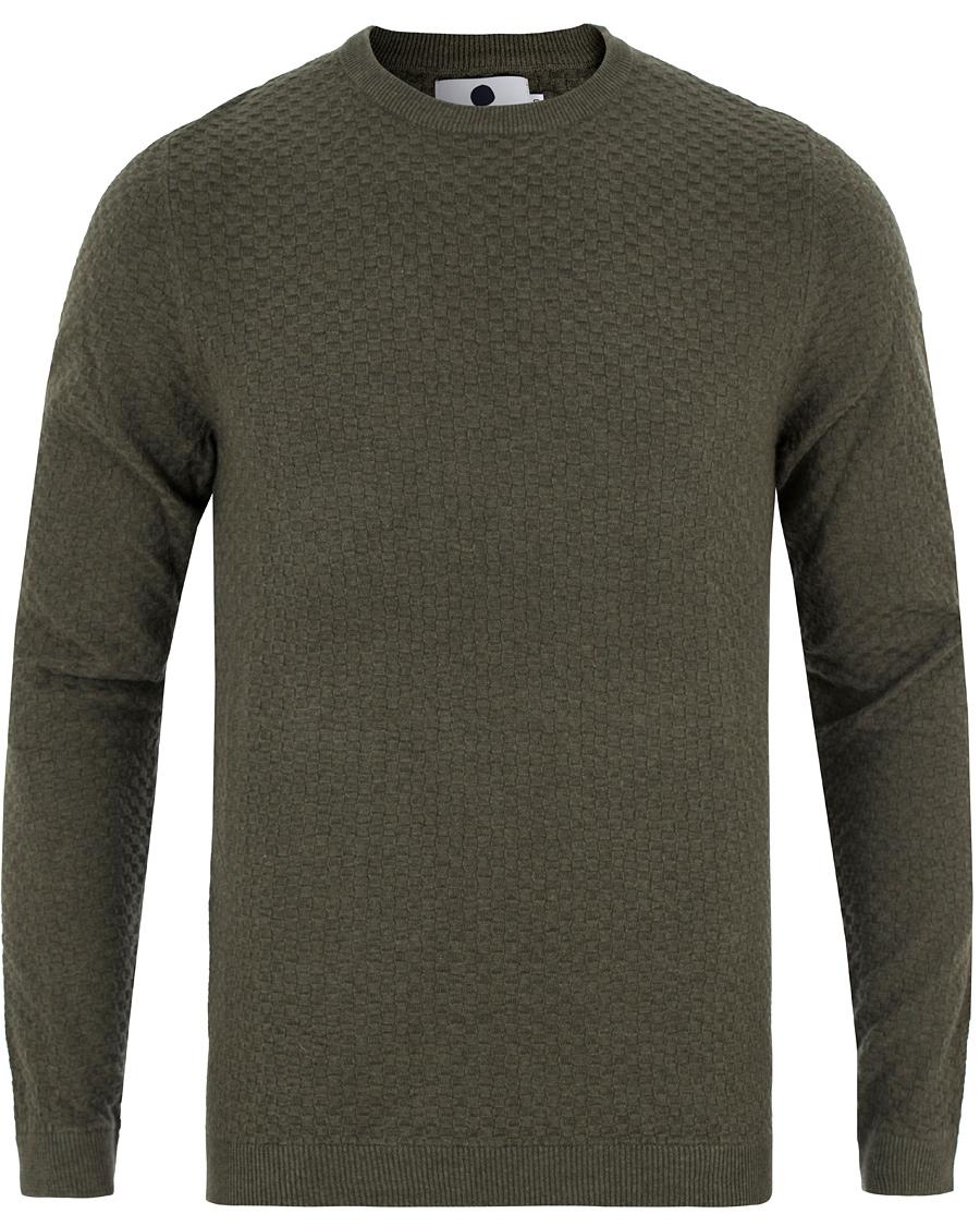 NN07 Albert Cotton Waffle Sweater Green hos CareOfCarl.no