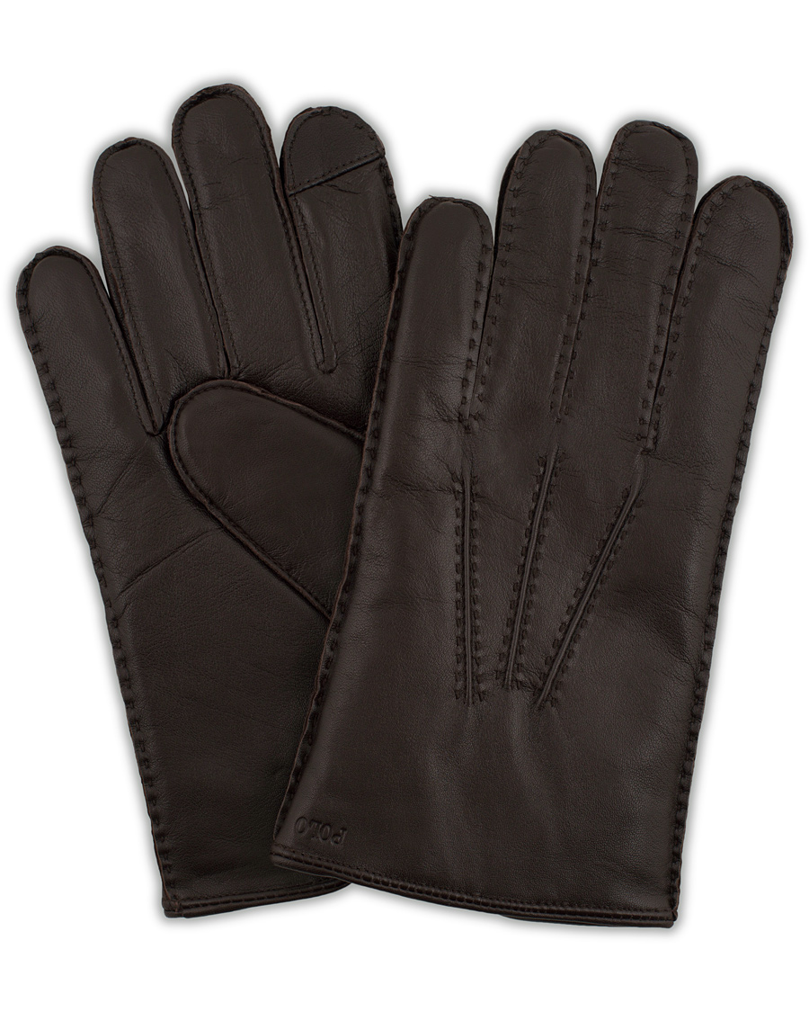 2b1a9506e Polo Ralph Lauren Leather Touch Glove Cashmere Lining Brown hos C