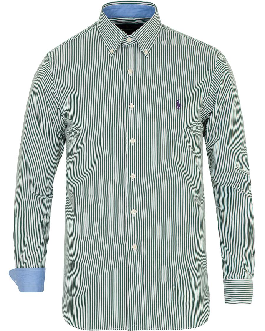 0176616c Polo Ralph Lauren Slim Fit Poplin Stripe Shirt Green/White hos Ca