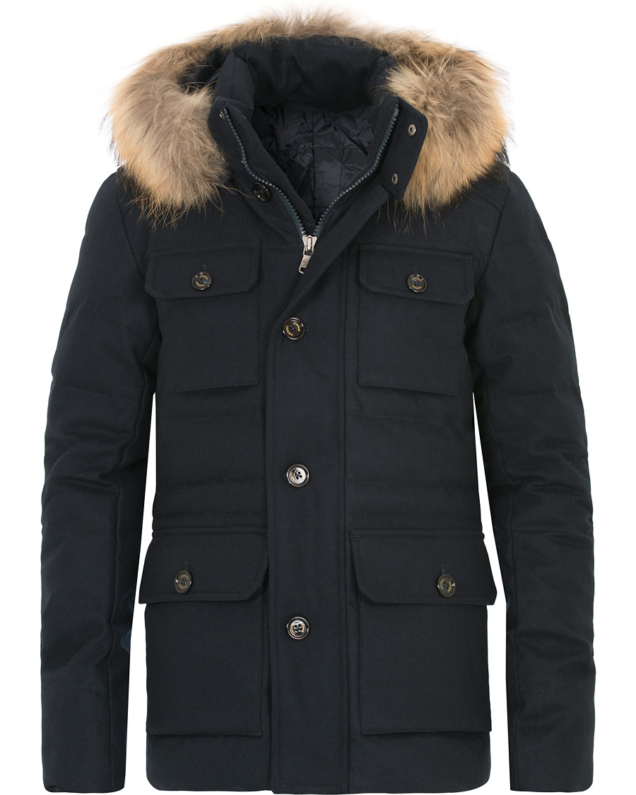 6ed98e8a475 Hackett Mayfair Wool Down Parka Navy hos CareOfCarl.no