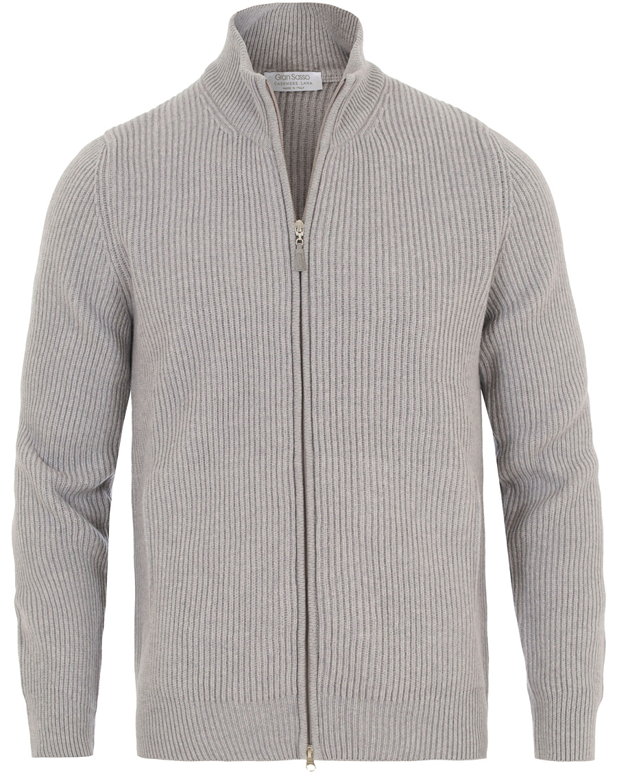 2a214740 Gran Sasso Wool/Cashmere Ribbed Full Zip Grey hos CareOfCarl.no