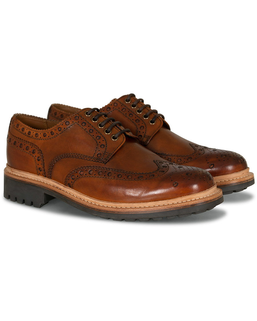 Grenson Archie Brogue Derby Commando Sole Tan Calf UK6 EU40