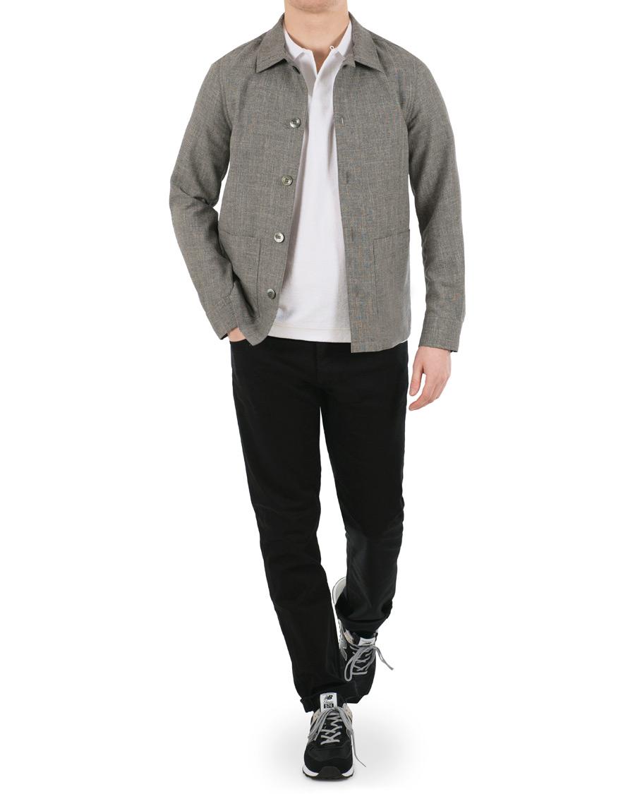 Oscar Jacobson Hannes WoolCottonLinen Shirt Jacket Grey