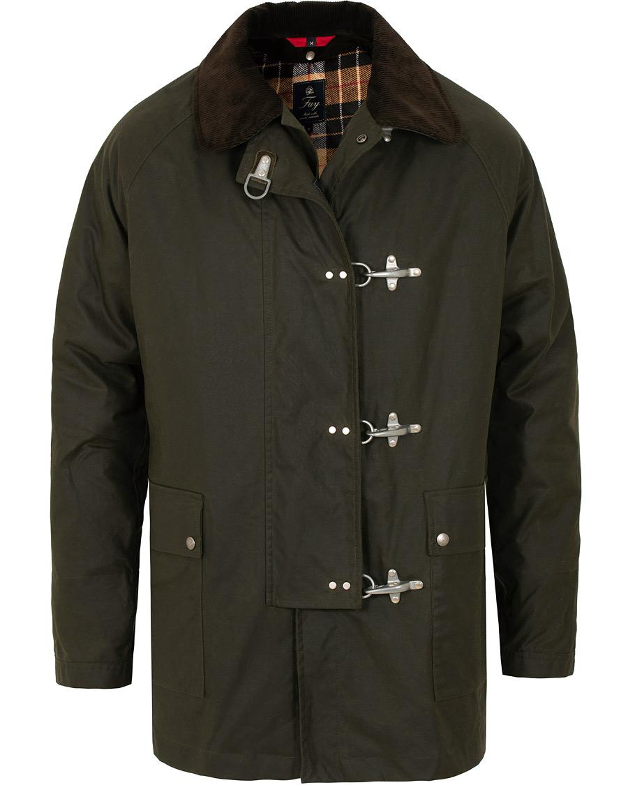 33220467 Fay Four Hook Luxury Oilskin Jacket Dark Green i gruppen Klær / Jakker /  Voksede jakker
