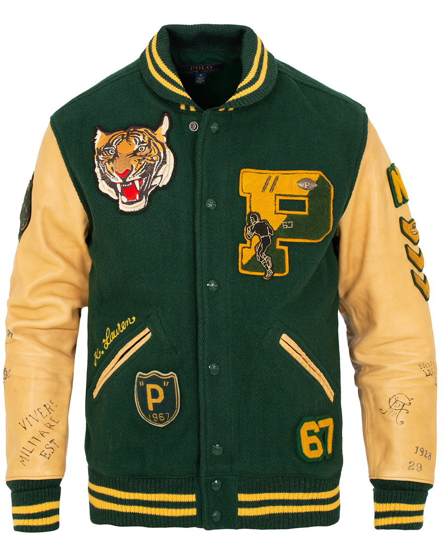 66cb3a1e565 ... where to buy polo ralph lauren letterman varsity leather jacket college  green bc993 607ac