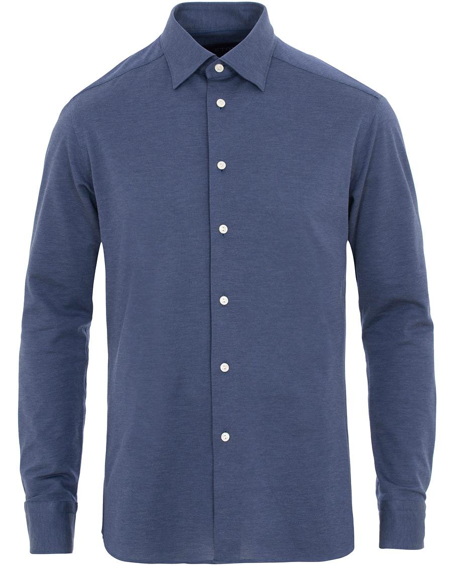 Eton Slim Fit Jersey Button Under Shirt Blue hos CareOfCarl.no