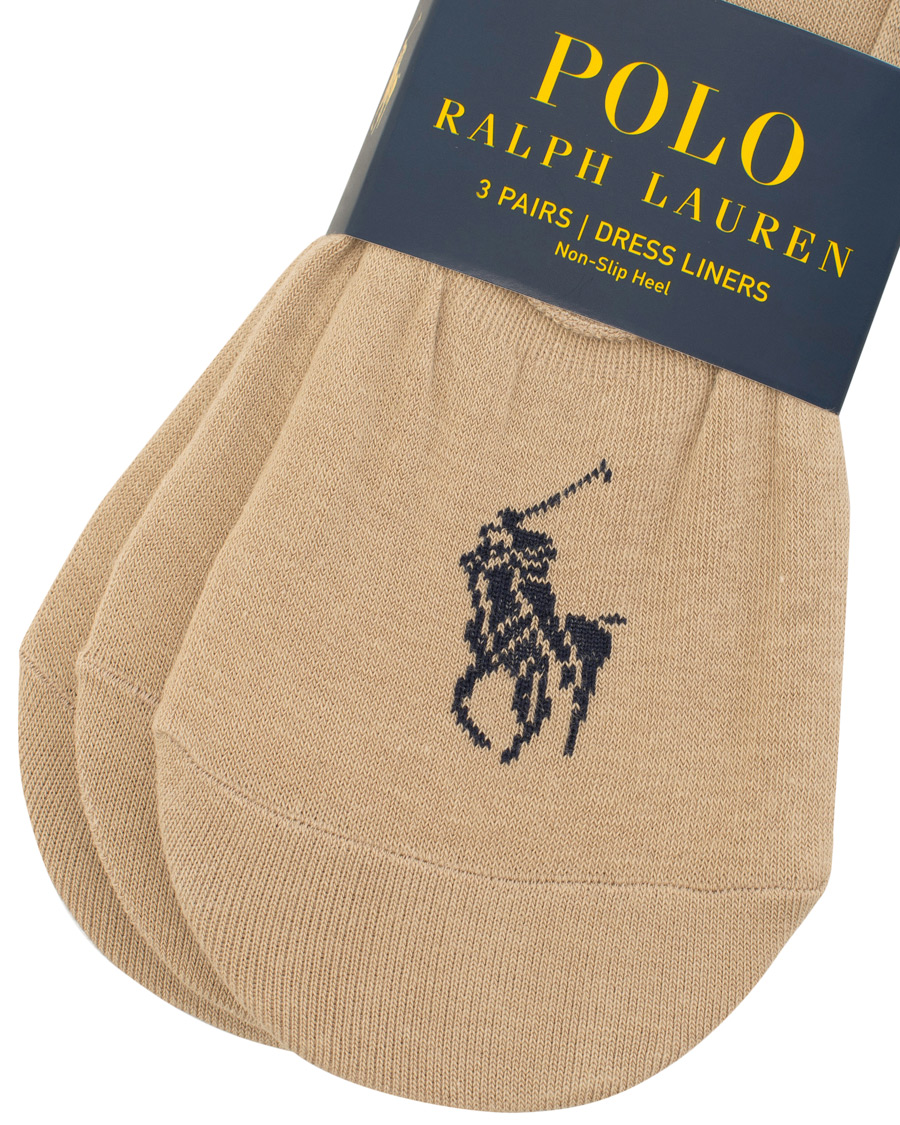 Polo Ralph Lauren 3 Pack No Show Big Pony Pony Socks Beige hos C