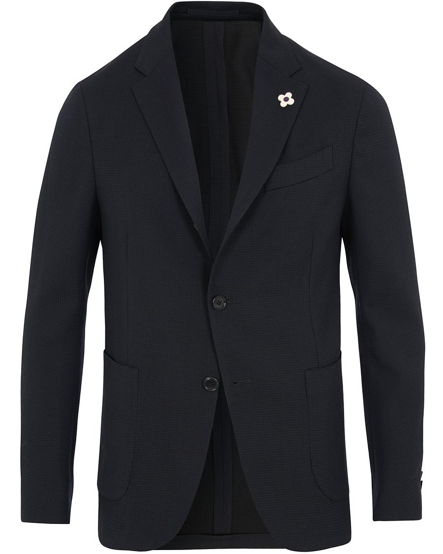 38a15170 Lardini Wool Cotton Travel Blazer Navy i gruppen Klær / Dressjakker /  Enkeltspente dressjakker hos Care