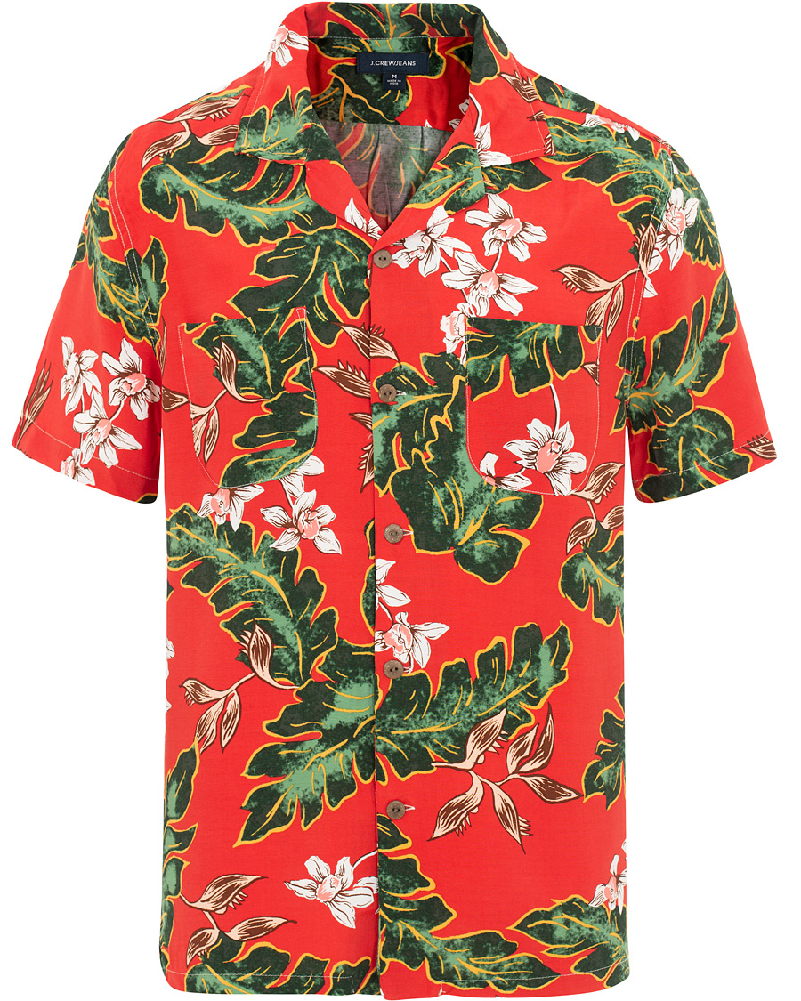 10662e85 J.Crew Rayon Camp Collar Short Sleeve Shirt Palma Floral Red hos